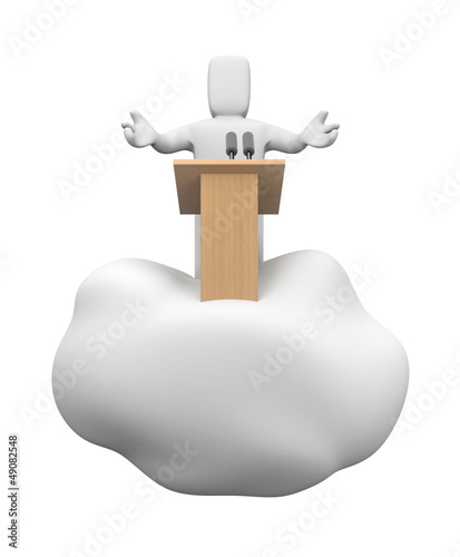 Speaking person floating on cloud