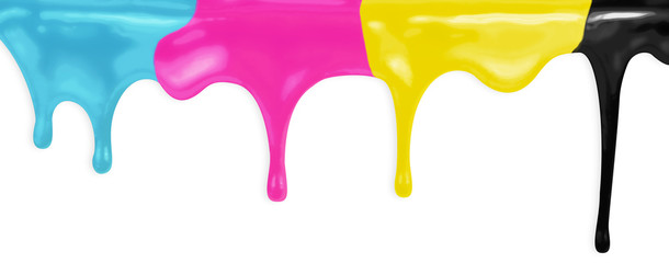 CMYK cyan magenta yellow black paints isolated with clipping pat