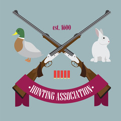 Illustration of Hunting Association logo with rifles