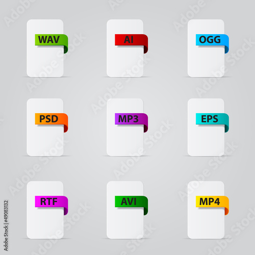 Set of file extension detailed icons