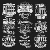 Fototapety Set Of Vintage Retro Coffee Labels On Chalkboard