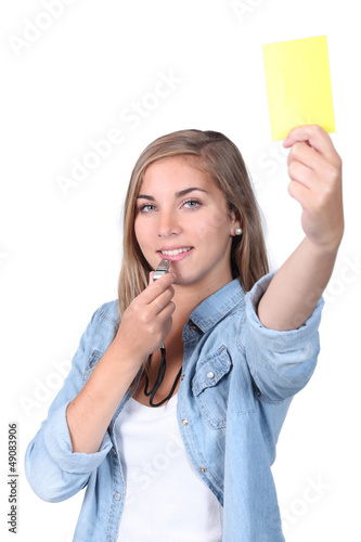 girl with yellow card