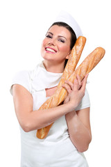 young beautiful woman showing bread