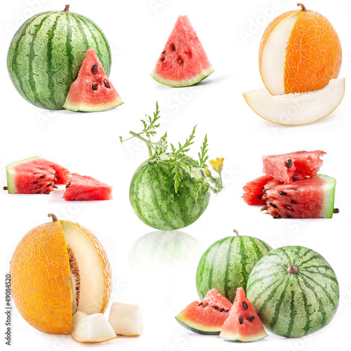 Collection of watermelon and mellon isolated on white background