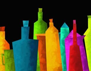 bottiglie colorate