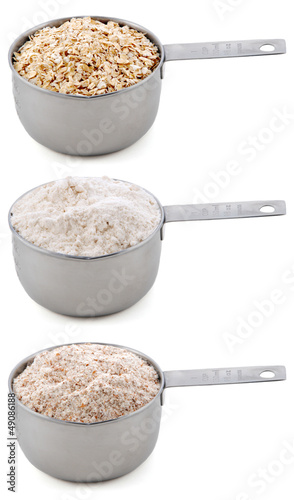 Everyday staple ingredients - rolled oats and flours - in cup me