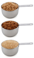 Three different sugars in cup measures