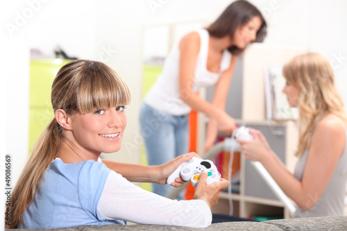 Girls playing computer games
