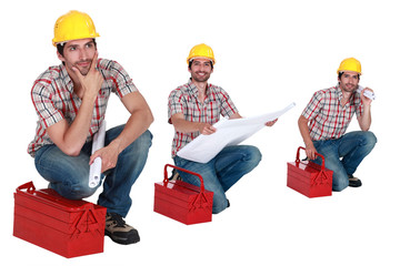 Three shots of a worker with his toolbox