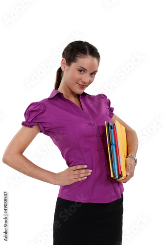 Secretary holding files
