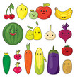Fruit & vegetable kawaii vector set