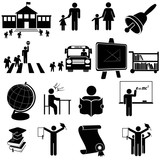 School - black and white icon set