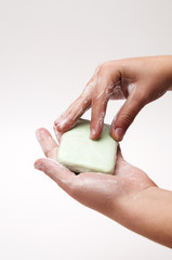 hands with soap