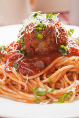 Spaghetti pasta and meatballs