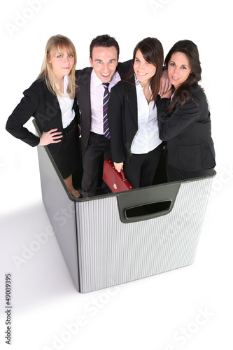 high-spirited foursome in box