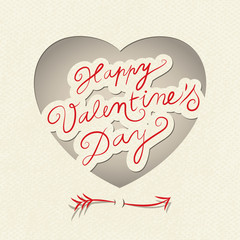 Vector Valentine's heart with cute little arrow. Retro style.