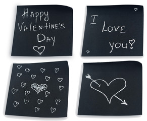 Original handwritten paper notes to Valentine day