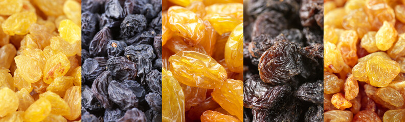 Set of assorted raisins