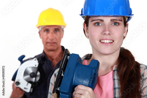 Father daughter ready to renovate house