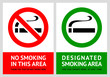 No smoking and Smoking area labels - Set 1