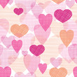 vector textured fabric hearts seamless pattern background with