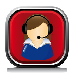 SUPPORT WOMAN EARPHONE ICON