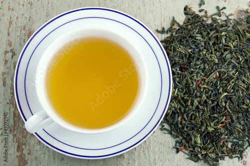 Green tea in a white cup