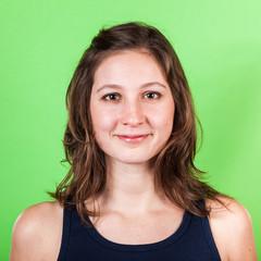 Beautiful Woman on Green Background