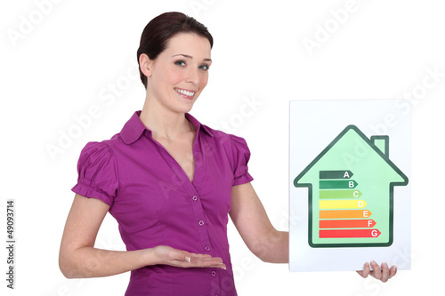 Woman holding energy rating sign