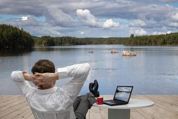 Businessman relaxes