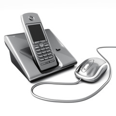 Click or call contact us concept. Computer mouse with telephone