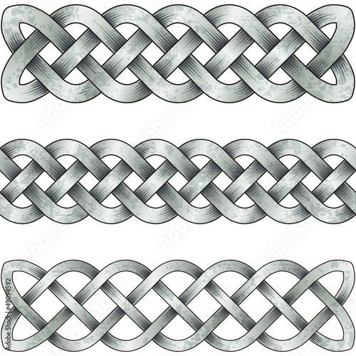 Set of silver celtic braids
