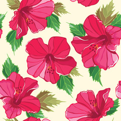 Floral seamless pattern with hibiscus