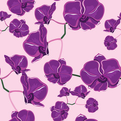 Seamless pattern with orchids, hand-drawing.