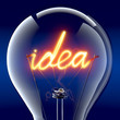 "The word ""idea"" light bulb inside"
