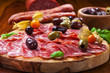 Italian salami with olives