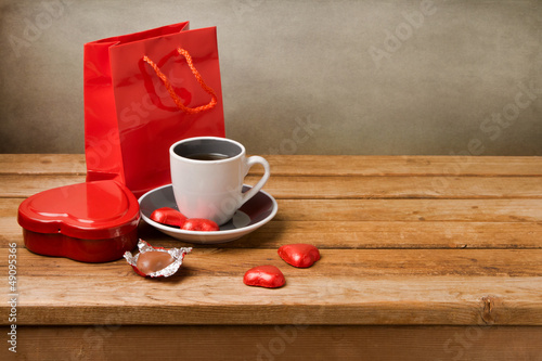 Valentine's Day still life with heart shape chocolate