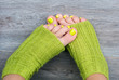 Green female pedicure
