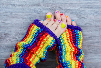 Colorful female pedicure