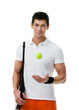 Exercising tennis player with tennis ball