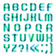 Spectral letters folded of paper ribbon-turquoise