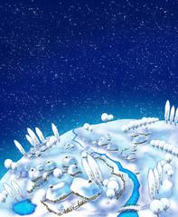 Illustration of a winter landscape