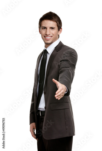 Friendly businessman giving hand for a handshake