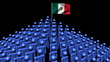 pyramid of men with rippling Mexican flag animation