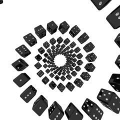 Черные игральные кости в спирали