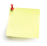 Yellow note paper pinned on white background
