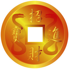 Chinese Gold Coin with Snake Symbols