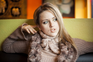 Young Woman with Beautiful Blue Eyes