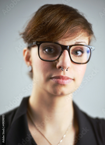 Woman with Piercing and Nerd Glasses