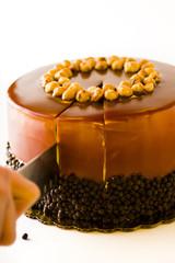 Chocolate, Hazelnut, and Caramel Cake